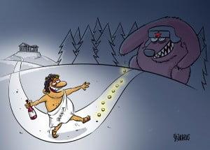 Greece crisis cartoon, money, debt, Greece Russia cartoon