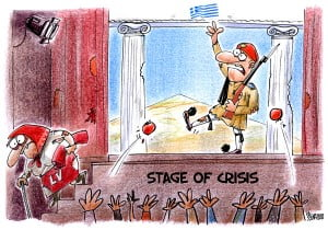 Latvia crisis cartoon, money, debt, Greece crisis cartoons