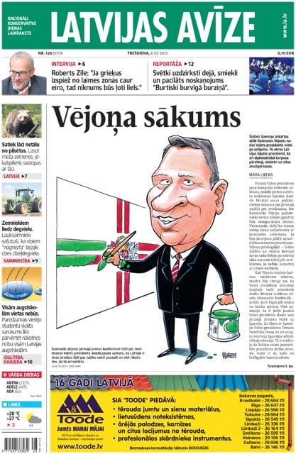 prezidents, Raimonds Vējonis, karikatūra, Latvijas Avīze
