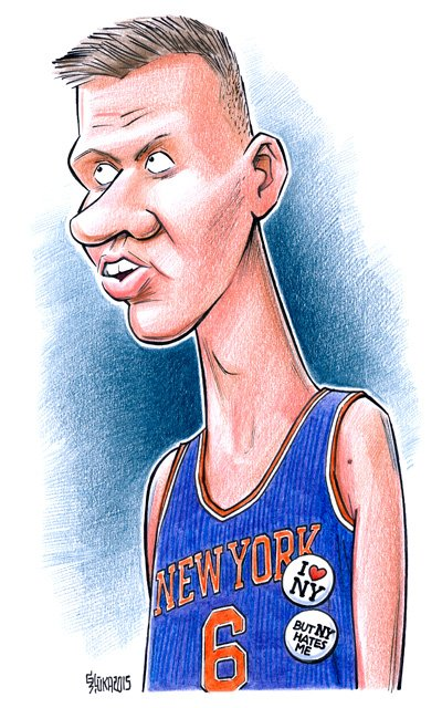 Kristaps Porzingis caricature, cartoon, Gatis Sluka, NBA, Latvia, New York Knicks