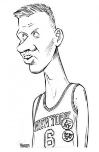 Kristaps Porzingis caricature, cartoon, sketch, Gatis Sluka, NBA, Latvia, New York Knicks
