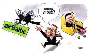 AirBaltic karikatūra, Gatis Šļūka, Dombrovskis, Gerhards