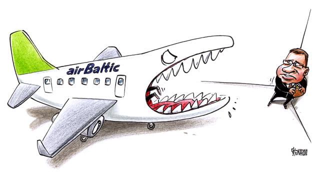AirBaltic karikatūra, Gatis Šļūka, lidmašīna, Dombrovskis
