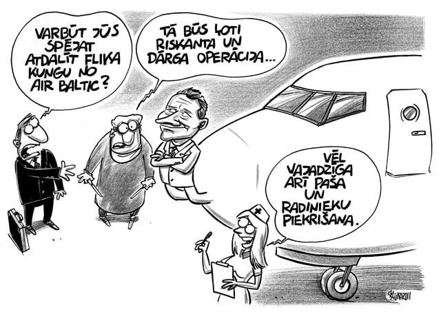 AirBaltic karikatūra, Gatis Šļūka, Fliks