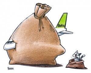 AirBaltic karikatūra, Gatis Šļūka, maiss, kaķis