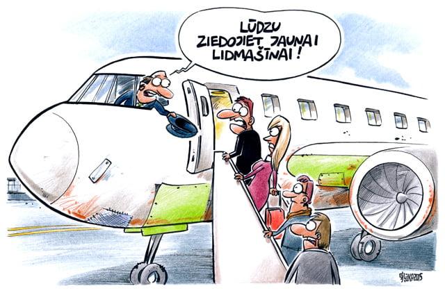 AirBaltic karikatūra, Gatis Šļūka, lidmašīna, ziedojums