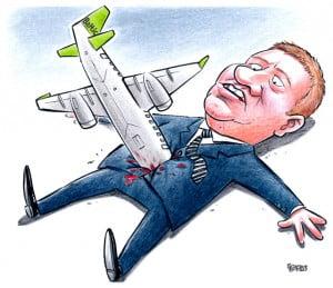 AirBaltic karikatūra, Anrijs Matīss, Gatis Šļūka, lidmašīna, satiksmes ministrs