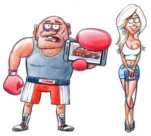 Blondīne bokseris LTAB OCTA, Gatis Šļūka, karikatūra