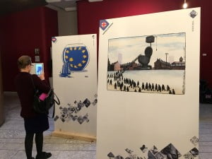 Strasbourg Gatis Sluka cartoon, European Parliament, exhibition