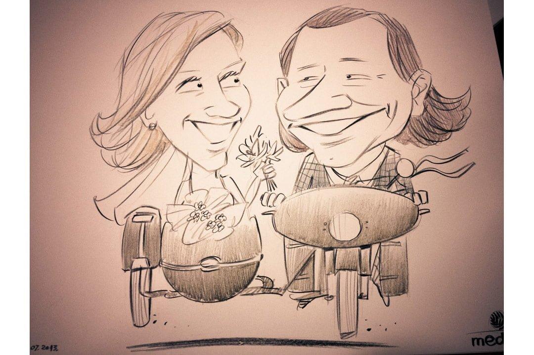Karikatūru zīmēšana, kāzu karikatūra, karikatūras