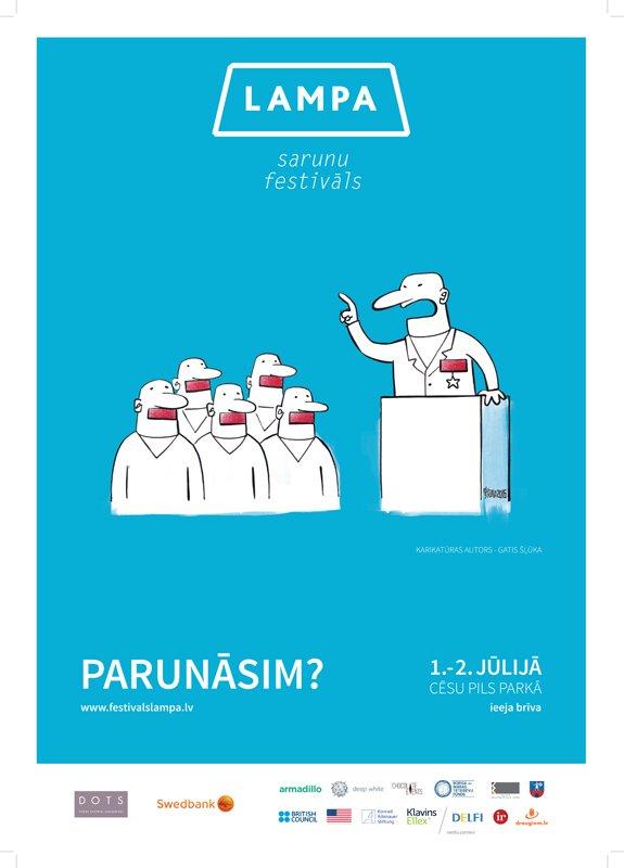 plakāts festivāls Lampa, karikatūru izstāde, patiesība ir jokā