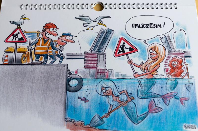 Karikatūru kalendārs, karikatūras