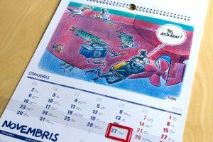 Gata Šļūkas karikatūru kalendārs