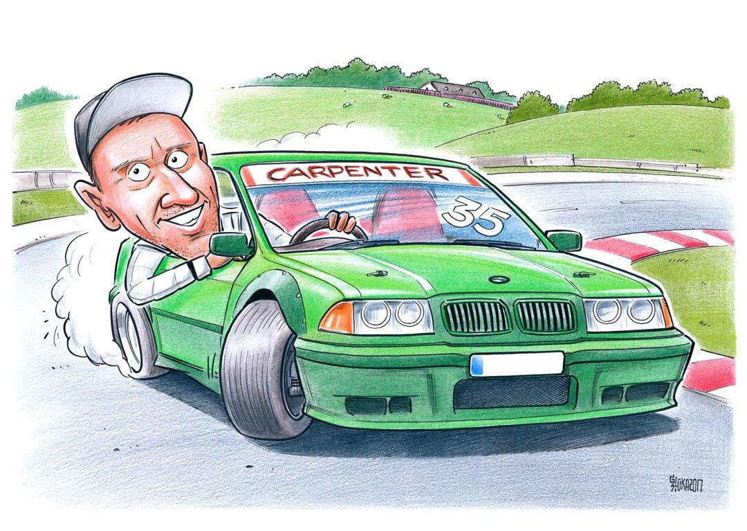 Individuālās karikatūras pasūtījums, karikatūra autobraucējam