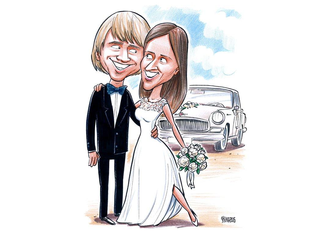 Karikatūra kā kāzu dāvana, pāra karikatūra