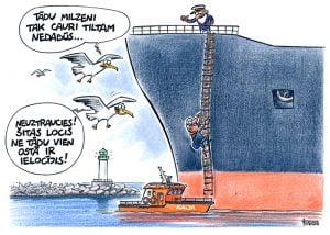 Karikatūra Ventspils brīvosta, karikatūra par kaijām