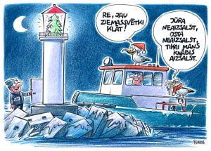 Gata Šļūkas karikatūra, karikatūra par kaijām