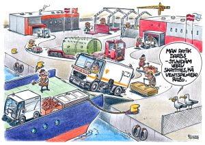 karikatūra par kaijām un Ventspils ostu