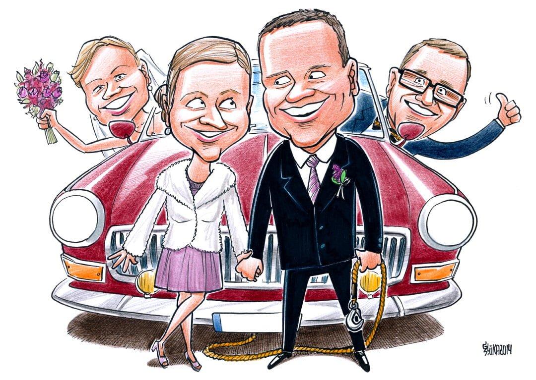 Karikatūras dāvināšana kāzās, karikatūra uz kāzām