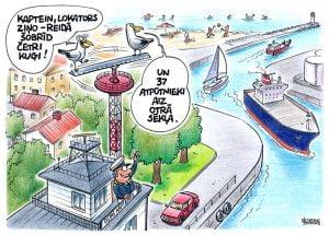 karikatūra par kaijām, Ventspils osta