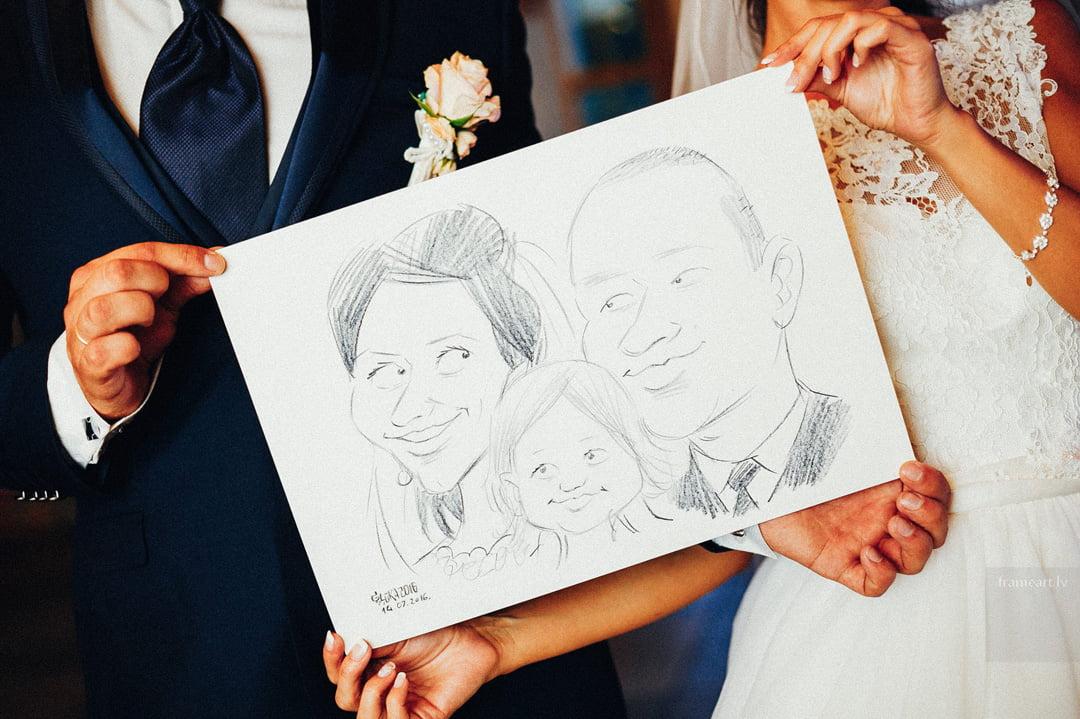Karikatūras zīmēšana kāzās, kāzu karikatūras