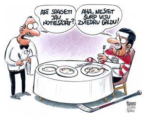 Karikatūras par hokeju, zviedru galds, hokeja čempionāts