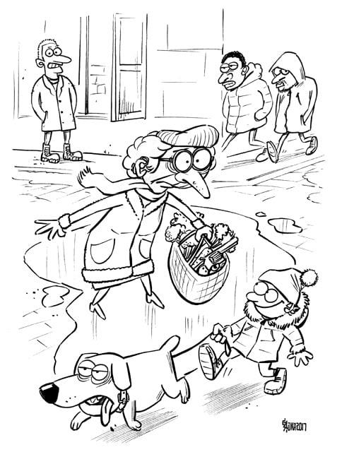 Feja ar karabīni grāmatas vāka skice, gatis šļūka, karikatūra