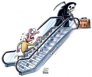 Karikatūra par pensijām, eskalators, pensionārs, nāve, izkapts