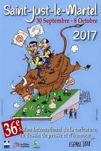 Cartoon exhibition St Just le Martel, cartoon poster