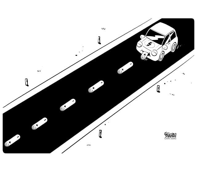 Electric car, elekriskais auto, karikatūra
