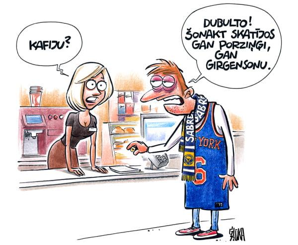 Porziņģis un Girgensons krūze, karikatūra, Gatis Šļūka