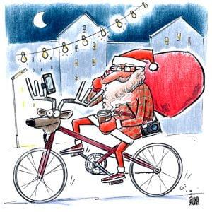 Ziemassvētku hipsters, Hipstervecītis, karikatūra, ziemeļbriedis, velo