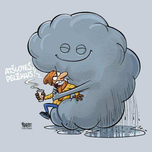Pelēkais karikatūras izdruka, karikatūra pie sienas, Gatis Šļūka