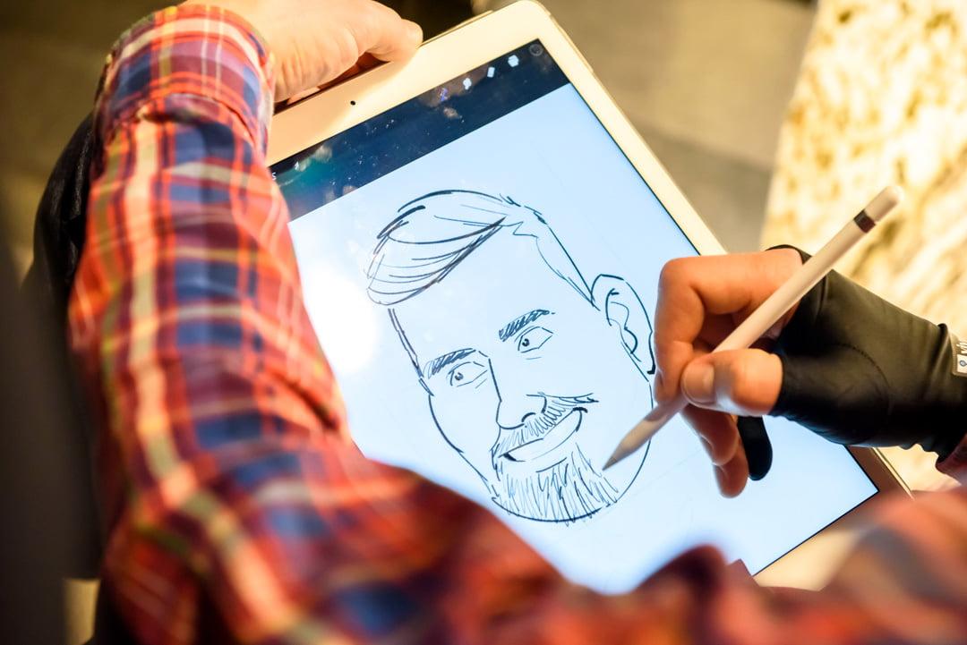 Karikatūras zīmēšana ar planšeti, iPad Pro, Apple Pencil