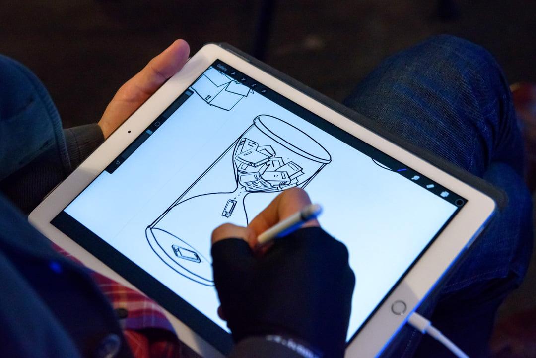 Digitāla karikatūra par tehnoloģiju attīstību