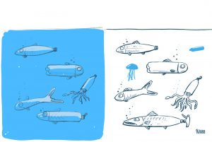 Plastic fish, cartoon sketch