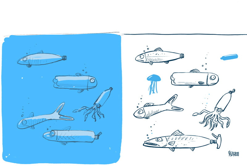 Plastic fish, cartoon sketch