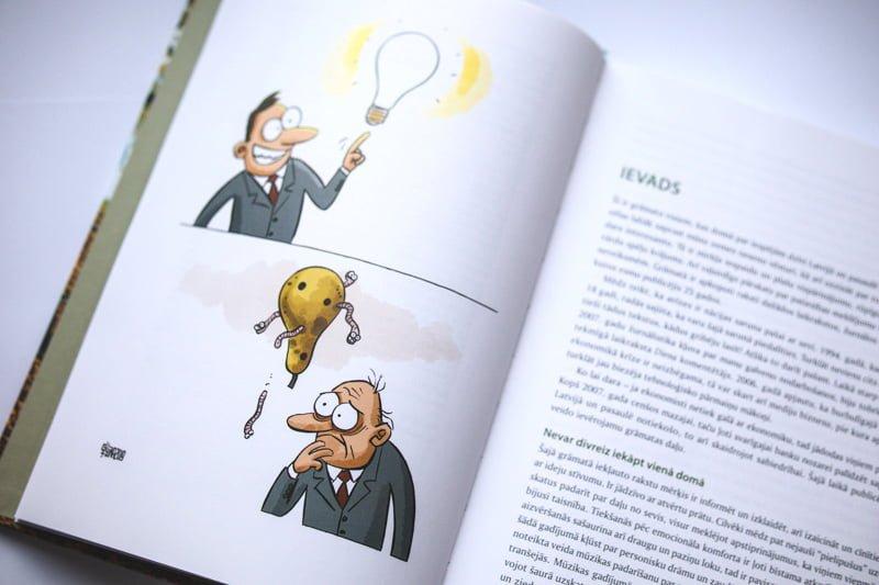 """Karikatūras grāmatā """"Latvijā dzīvot ir interesanti"""""""
